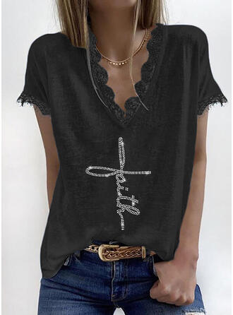 Solid Lace Sequins Figure V-Neck Short Sleeves Casual Blouses