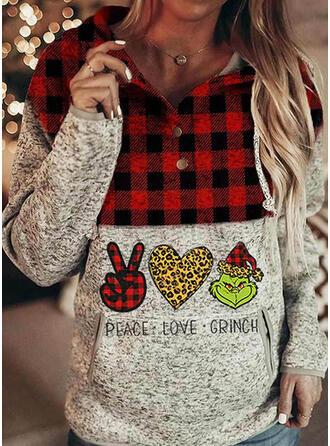 Drucken Gitter Leopard Lange Ärmel Weihnachts-Sweatshirt
