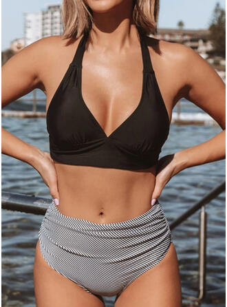 Splice color Hollow Out Halter V-Neck Sexy Bikinis Swimsuits