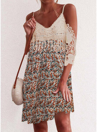Lace/Print 3/4 Sleeves Shift Above Knee Casual Tunic Dresses