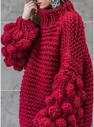 Einfarbig Grobstrick Stehkragen Freizeit Pullover
