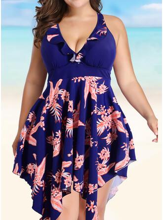Round Neck Plus Size Eye-catching Casual Swimdresses Swimsuits