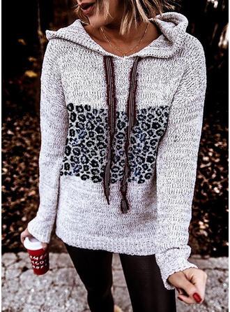 Geblockte Farben Leopard Mit Kapuze Freizeit Pullover