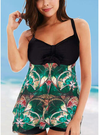 Print Strap V-Neck Fashionable Casual Swimdresses Swimsuits