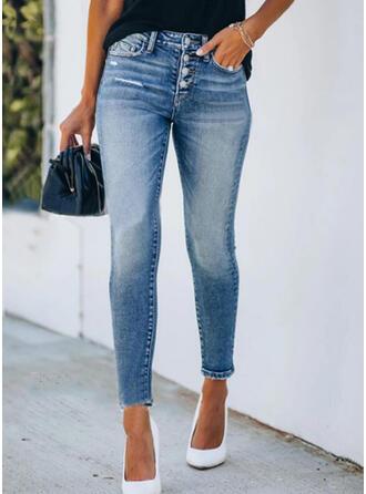 Shirred Ripped Elegant Sexy Skinny Denim & Jeans