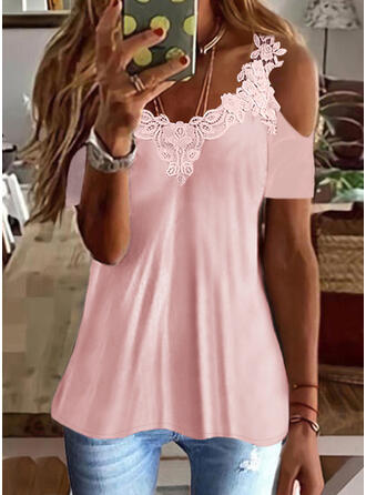 Solid Lace Cold Shoulder Short Sleeves T-shirts