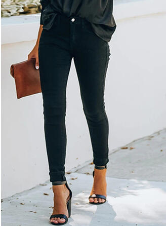 Solid Shirred Plus Size Long Elegant Sexy Skinny Denim & Jeans