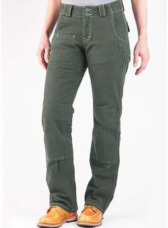 Einfarbig Taschen Übergröße Elegant Jahrgang Hosen