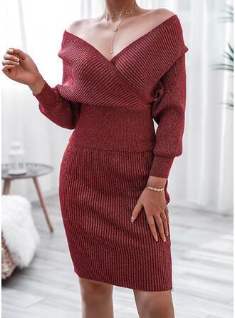 Einfarbig V-Ausschnitt Freizeit Lang Pulloverkleid
