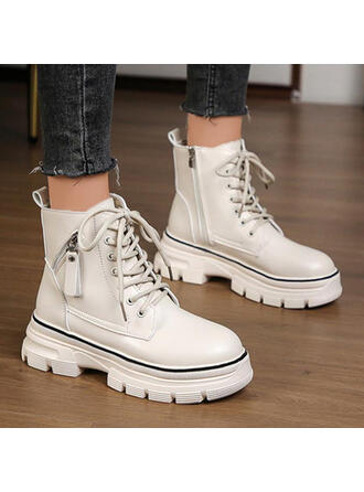 Women's PU Flat Heel Boots Ankle Boots With Lace-up Solid Color shoes