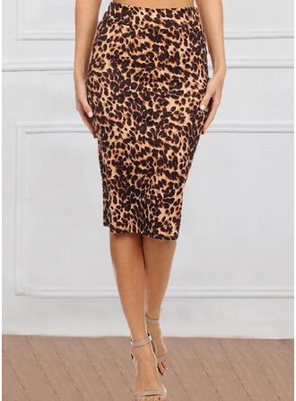 Cotton Blends Print Knee Length Bodycon Skirts