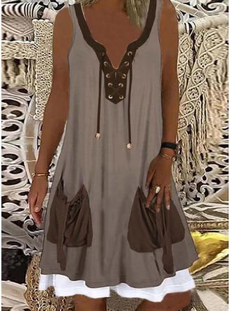 Color Block Sleeveless Shift Knee Length Casual Dresses
