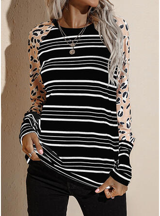 Print Striped Round Neck Long Sleeves T-shirts
