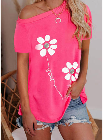 Figure Floral Print One Shoulder Short Sleeves T-shirts