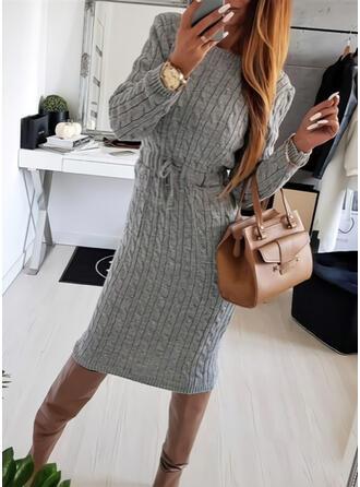 Einfarbig Lange Ärmel Figurbetont Pullover Freizeit Midi Kleider