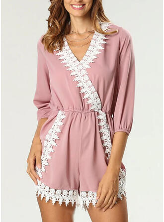 V-Neck 3/4 Sleeves Solid Color Sexy Casual Lounge Rompers