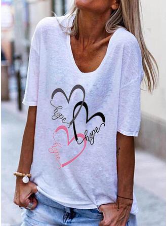 Figure Heart Print V-Neck 1/2 Sleeves T-shirts