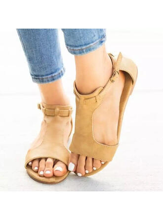 Women's Suede Flat Heel Sandals Peep Toe With Buckle Hollow-out Solid Color shoes