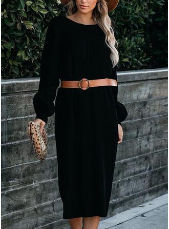 Einfarbig Lange Ärmel Etui Pullover Kleine Schwarze/Freizeit Midi Kleider
