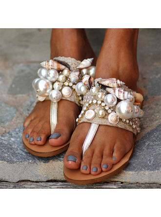 Women's PU Flat Heel Peep Toe Flip-Flops Slippers With Pearl Hollow-out Solid Color shoes
