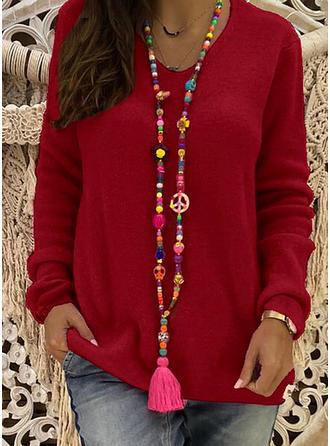 Einfarbig Rundhalsausschnitt Freizeit Weihnachten Pullover