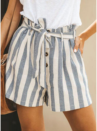 Striped Shirred Casual Striped Shorts