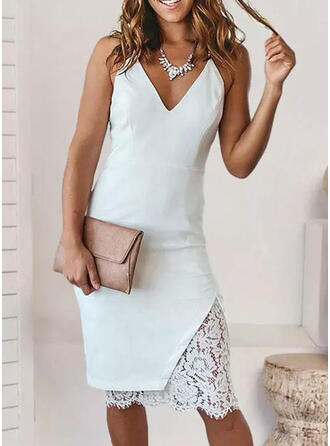 Lace/Solid Sleeveless Sheath Knee Length Elegant Dresses