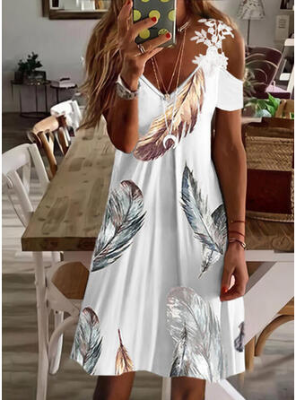 Lace/Print Short Sleeves A-line Above Knee Casual/Vacation Skater Dresses