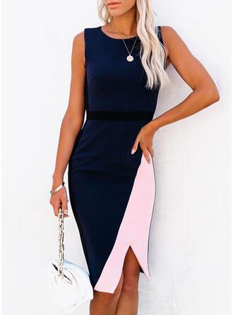 Color Block Sleeveless Sheath Knee Length Elegant Dresses