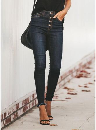 Pockets Shirred Plus Size Tassel Casual Sexy Denim & Jeans
