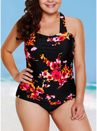 Print Halter U-Neck Fashionable Casual Tankinis Swimsuits