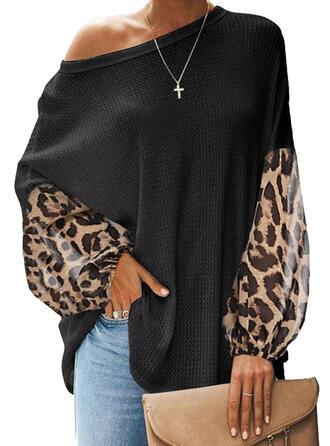 Drucken Leopard Eine-Schulter Lange Ärmel Freizeit Blusen