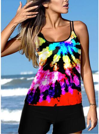 Colorful Neon Strap U-Neck Plus Size Eye-catching Novelty Tankinis Swimsuits