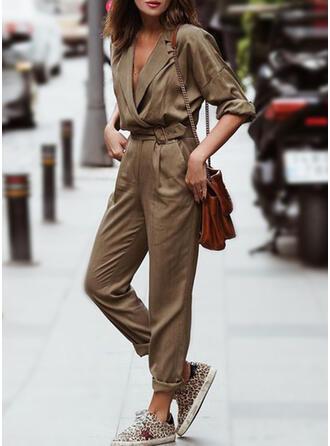 Solid Lapel Long Sleeves Vintage Jumpsuit