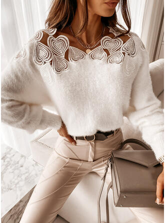 Solid Lace Heart Round Neck Casual Sweaters