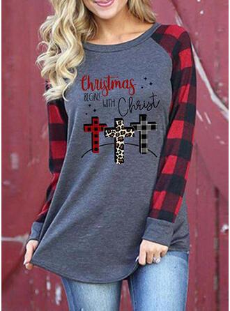 Drucken Leopard Figur Rundhalsausschnitt Lange Ärmel Freizeit Weihnachten T-shirts