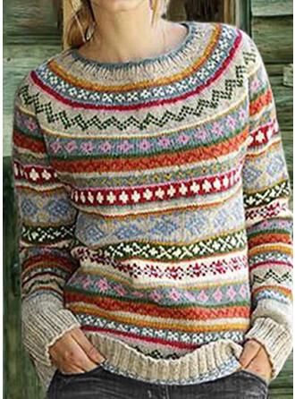 Drucken Grobstrick Rundhalsausschnitt Freizeit Weihnachten Pullover