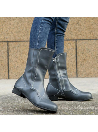 Women's Leatherette Low Heel Boots Mid-Calf Boots High Top Round Toe Winter Boots Combat Boots shoes