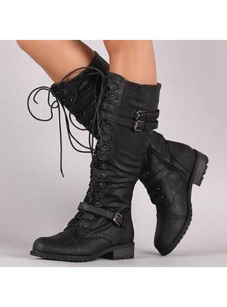 Women's PU Chunky Heel Boots Mid-Calf Boots With Buckle Zipper Lace-up Solid Color shoes