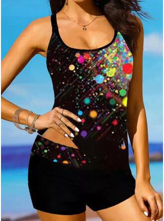 Dot Splice color Strap V-Neck Retro Boho Tankinis Swimsuits