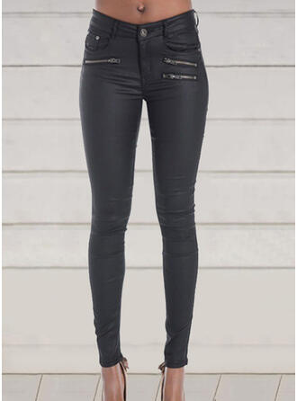 Solid Plus Size Sexy Skinny Leather Pants Leggings