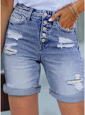 Solid Denim Above Knee Casual Plus Size Ripped Button Pants Shorts Denim & Jeans