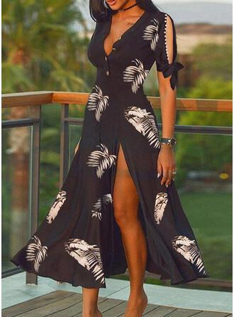 Print/Beaded Short Sleeves/Split Sleeve A-line Skater Elegant Maxi Dresses