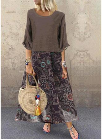 Druck/Blumen 3/4 Ärmel Shift Tunika Freizeit Maxi Kleider