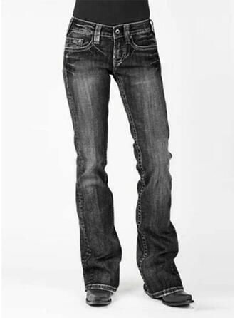 Solid Long Casual Vintage Plus Size Pocket Shirred Button Pants Denim & Jeans