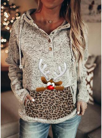 Drucken Leopard Lange Ärmel Weihnachts-Sweatshirt
