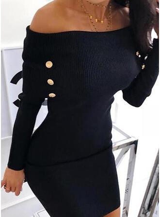 Einfarbig Off-Schulter Freizeit Lang Pulloverkleid