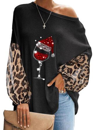 Pailletten Leopard Eine-Schulter Laterne Ärmel Lange Ärmel Freizeit Weihnachten Blusen