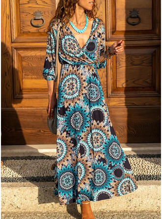 Print 3/4 Sleeves A-line Skater Casual/Boho/Vacation Maxi Dresses