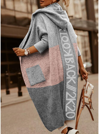 Print Color Block Pocket Hooded Casual Long Cardigan